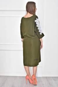 Платье короткое однотонное с кружевом Т7445