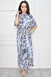 Платье длинное голубое с принтом Т7775