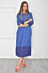 Платье длинное трикотажное синее У7887