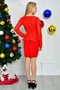 Платье короткое вечернее красное П8262