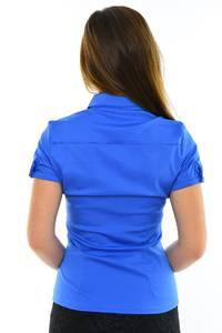 Рубашка однотонная синяя М8910