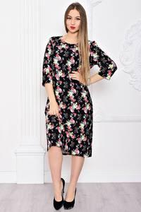Платье длинное с принтом черное С9047