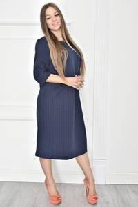 Платье короткое однотонное синее Т7448