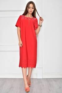 Платье короткое красное однотонное У7740