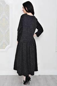 Платье длинное зимнее черное Р1888