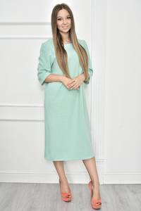 Платье короткое однотонное голубое Т7449
