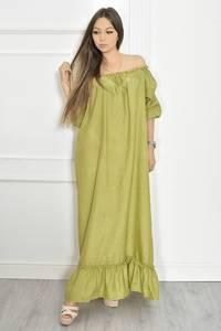 Платье длинное летнее зеленое Т6694