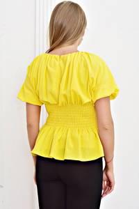 Блуза желтая с коротким рукавом Т4466
