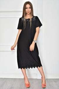 Платье короткое черное однотонное У7742