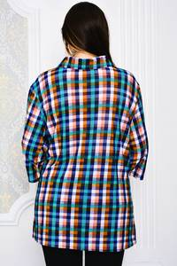 Рубашка удлиненная в клетку Р3995