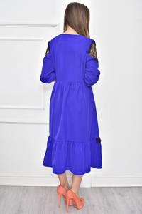 Платье короткое нарядное синее Т7450
