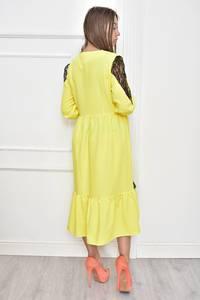 Платье короткое нарядное желтое Т7451