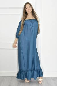 Платье длинное летнее синее Т6697