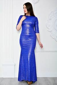 Платье длинное синее вечернее П7111
