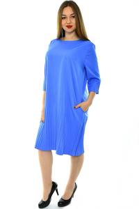 Платье длинное деловое голубое Н4289