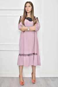 Платье короткое нарядное с кружевом Т7454