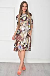 Платье короткое с принтом современное У7895