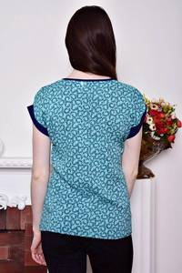 Блуза голубая с коротким рукавом Р8787