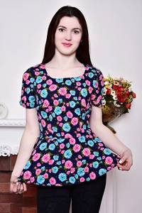 Блуза синяя с цветочным принтом с баской Р8788