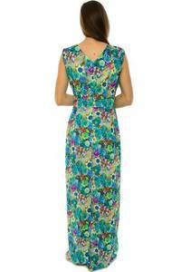 Платье длинное с принтом зеленое Н3923