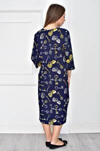 Платье короткое синее с принтом У0595