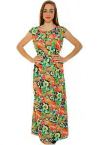 Платье длинное с принтом зеленое Н3924