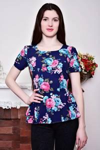 Блуза синяя с цветочным принтом с баской Р8790