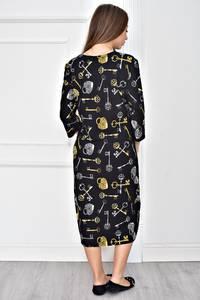 Платье короткое черное с принтом У0596