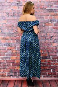 Платье длинное с открытыми плечами в горошек П6467