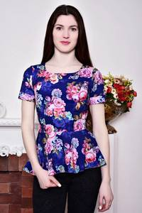 Блуза синяя с цветочным принтом с баской Р8791