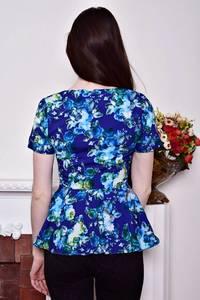 Блуза синяя с цветочным принтом с баской Р8792