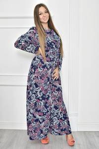 Платье длинное трикотажное с принтом Т7471