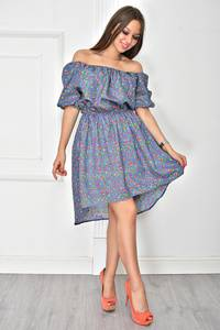 Платье короткое коктейльное с принтом У7901