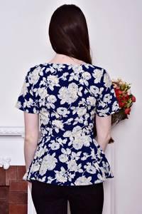 Блуза синяя с цветочным принтом с баской Р8793