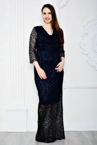 Платье длинное синее вечернее П7115