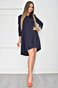 Платье короткое с рукавом 3/4 синее У7754
