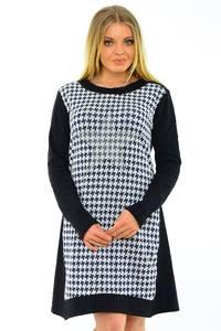 Платье короткое с длинным рукавом черное М3767