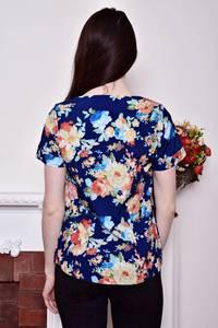 Блуза синяя с цветочным принтом Р8794