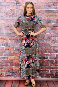 Платье длинное нарядное с принтом П6471