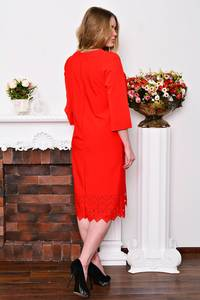 Платье длинное деловое красное Р3517