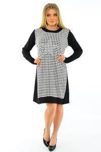 Платье короткое с длинным рукавом черное М3768