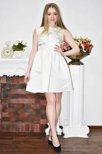Платье короткое коктейльное белое Р8246