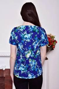 Блуза синяя с цветочным принтом Р8800