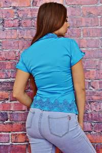 Рубашка синяя с кружевом Т4127