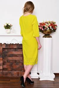 Платье длинное деловое желтое Р3518