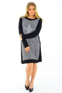 Платье короткое с принтом черное М3769