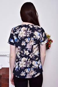 Блуза синяя с цветочным принтом Р8801