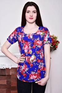Блуза синяя с цветочным принтом Р8802