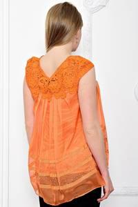 Блуза летняя с кружевом без рукавов С7205