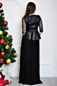 Платье длинное черное классическое П7118
